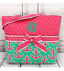 Mint and Pink Anchor Quilted Diaper Bag #MPD2121-PINK