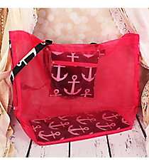 Pink and Black and White Anchor Large Mesh Tote #MT18-706-BK-PK