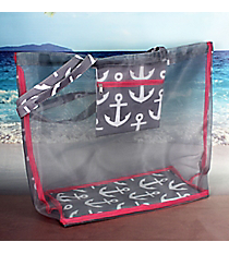 Gray and White Anchor with Pink Trim Large Mesh Tote #MT18-706-GRAY
