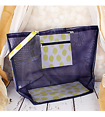 Navy Blue and Yellow Brushed Dots Large Mesh Tote #MT18-707-Y-BL