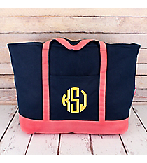 Navy Canvas Boat Tote with Coral Trim #MU831-NAVY/CORAL