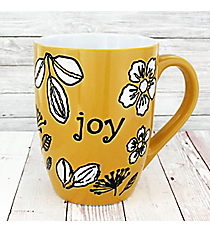 Yellow Etched Flower Joy Mug #MUG239