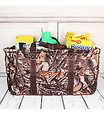 BNB Natural Camo with Brown Trim Collapsible Haul-It-All Basket with Mesh Pockets #N603-BROWN