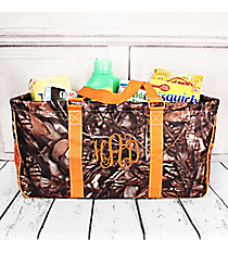 BNB Natural Camo with Orange Trim Collapsible Haul-It-All Basket with Mesh Pockets #N603-ORANGE