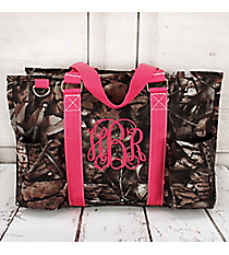BNB Natural Camo Utility Tote with Hot Pink Trim #N731-HPINK