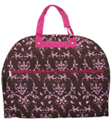 Brown and Pink Damask Quilted Garment Bag #NDM538#BrP3