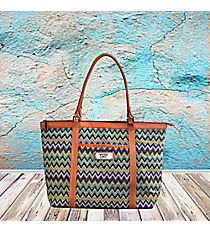 2 Corinthians 5:7 'Faith' Multi-Color Chevron Shoulder Tote #TOT040