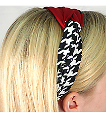 Houndstooth and Crimson Knotted Headband #NH0010-BKWI