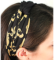 Black and Gold Fleur de Lis Knotted Knit Headband #NH0012-BKGD