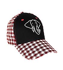 Crimson Houndstooth & Black  Baseball Cap with Rhinestone Elephant #NH0034-BKWI