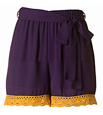 Kickoff Ready Crochet Trimmed Shorts, Purple and Gold #NKP3007-ST96 *Choose Your Size