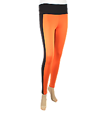 Sideline Stripe Colorblock Leggings, Orange and Black #NL0001-ORBK