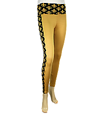 Sideline Stripe Fleur de Lis Colorblock Leggings, Black and Gold #NL0004-BKGD