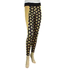 Sideline Stripe Fleur de Lis Colorblock Leggings, Black and Gold #NL0005-BKGD