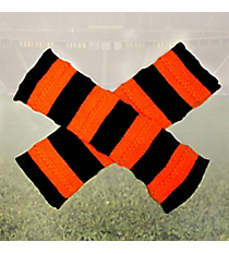 One Pair of Black and Orange Striped Knit Leg Warmers #NL0006-BKOR