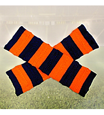 One Pair of Navy and Orange Striped Knit Leg Warmers #NL0006-NVOR