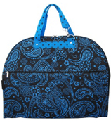 Black with Blue Paisley Quilted Garment Bag #NPA538#BN1
