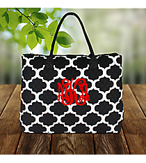 Moroccan Geometric Quilted Large Shoulder Tote with Black Trim #NPB3907-BLACK