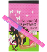"""Be beautiful in your heart. 1 Peter 3:4"" Little Miss Grace Notebook & Pen Set #NPS002"