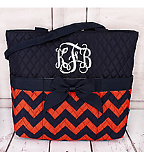 Navy and Orange Chevron Quilted Diaper Bag #NRQ2121-NAVY/OR
