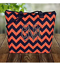 Navy and Orange Chevron Quilted Shoulder Bag with Black Trim #NRQ1515-NAVY/OR