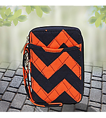 Navy and Orange Chevron Quilted Wristlet #NRQ495-NAVY/OR