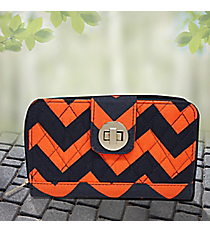 Navy and Orange Chevron Quilted Organizer Clutch Wallet #NRQ517-NAVY/OR