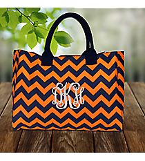 Navy and Orange Chevron Wide Tote Bag #NRQ581-NAVY/OR