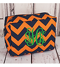 Navy and Orange Chevron Cosmetic Case #NRQ613-NAVY/OR