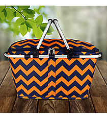 Navy and Orange Chevron Collapsible Insulated Market Basket with Lid #NRQ658-NAVY/OR