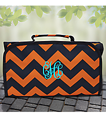 Navy and Orange Chevron Roll Up Cosmetic Bag #NRQ729-NAVY