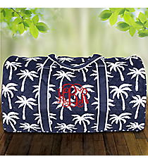 "21"" Navy Paradise Palms Quilted Duffle Bag #YAO2626-NAVY"