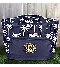Navy Paradise Palms Cooler Tote with Lid #YAO89-NAVY