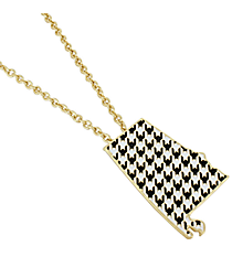 "18"" Black and White Houndstooth Alabama Necklace #AN0583-GJW"