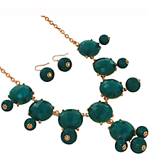 "19"" Green Pearlized Bubble Necklace and Earring Set  #JS4985-GGR"