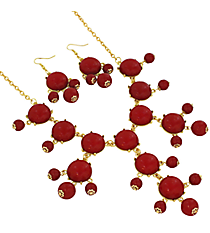 "19"" Red Bubble Necklace and Earring Set  #JS4985-GRD"