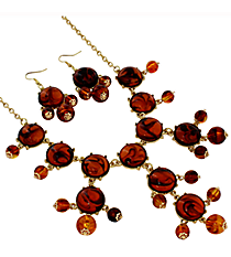 "19"" Tortoiseshell Bubble Necklace and Earring Set  #JS4985-GTTS"