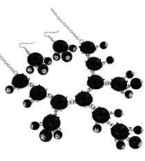 "19"" Black Bubble Necklace and Earring Set  #JS4985-SBK"