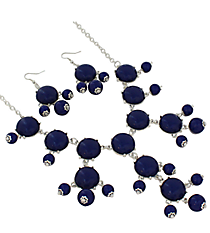 "19"" Blue Bubble Necklace and Earring Set  #JS4985-SBL"