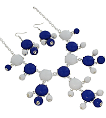 "19"" Blue and White Bubble Necklace and Earring Set  #JS4985-SBLW"
