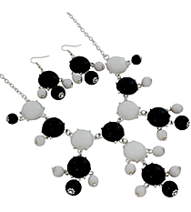 "19"" Black and White Bubble Necklace and Earring Set  #JS4985-SBW"