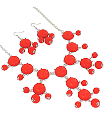 "19"" Coral Bubble Necklace and Earring Set  #JS4985-SCO"