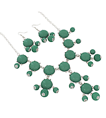 "19"" Mint Green Bubble Necklace and Earring Set  #JS4985-SMGR"