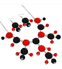 "19"" Red and Black Bubble Necklace and Earring Set  #JS4985-SRB"