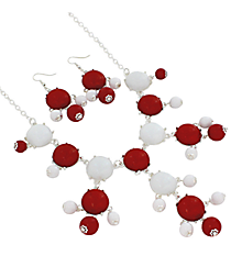 "19"" Red and White Bubble Necklace and Earring Set  #JS4985-SRW"