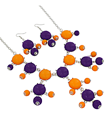 "19"" Yellow and Purple Bubble Necklace and Earring Set  #JS4985-SYP"