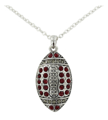 "18"" Red and Gray Crystal Football Necklace #48192-RD/GY"