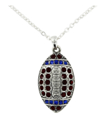 "18"" Red and Blue Crystal Football Necklace #48208-RD/BL"