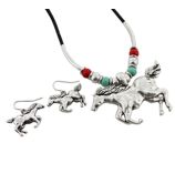Adjustable Burnished Silvertone Horse Necklace and Earring Set #AS4454-SBTQC