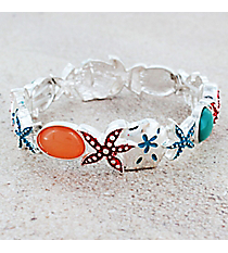 Multi-Color Sea Life Stretch Bracelet #OB06251-SVMUL